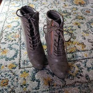 Grey Combat Boots, Size 7